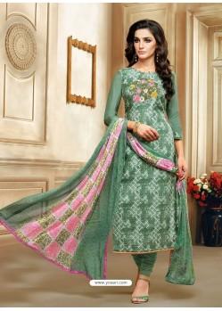 Mehendi Embroidered Chanderi Cotton Designer Churidar Suit