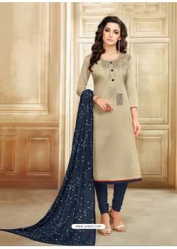 Light Beige And Navy Blue Embroidered Chanderi Cotton Designer Churidar Suit
