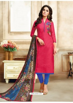 Fuchsia And Royal Blue Embroidered Chanderi Cotton Designer Churidar Suit