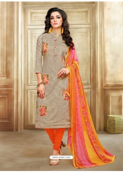 Orange And Taupe Embroidered Chanderi Cotton Designer Churidar Suit