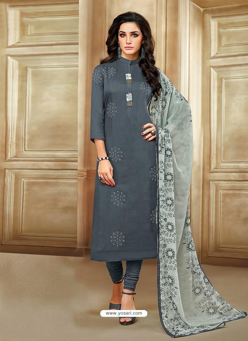 Dull Grey Embroidered Chanderi Cotton Designer Churidar Suit