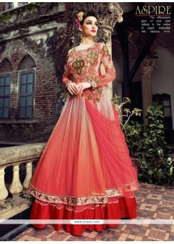 Elite White And Pink Shaded Net Anarkali Suit