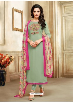 Olive Green Embroidered Chanderi Cotton Designer Churidar Suit
