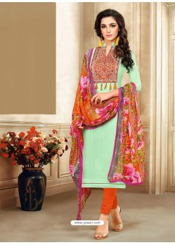 Sea Green And Orange Embroidered Chanderi Cotton Designer Churidar Suit