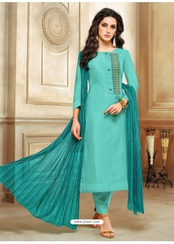 Turquoise Embroidered Chanderi Cotton Designer Straight Suit