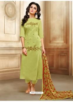 Green Embroidered Chanderi Cotton Designer Straight Suit