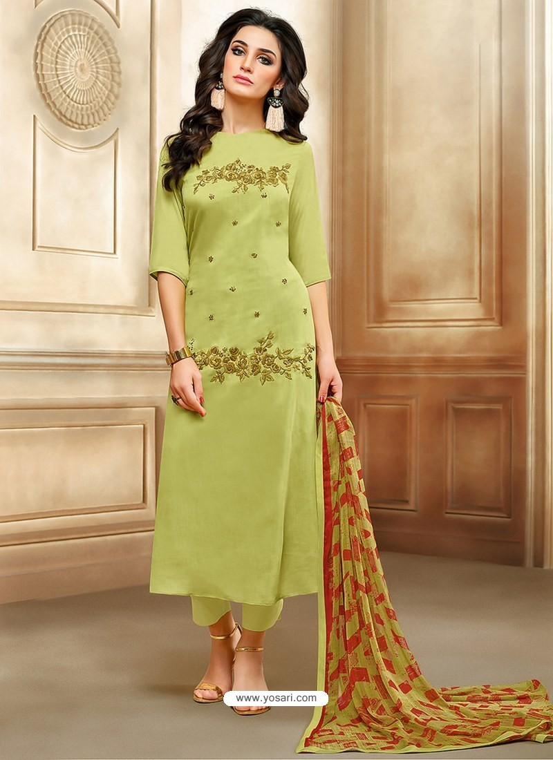 63709847e2 Buy Green Embroidered Chanderi Cotton Designer Straight Suit ...