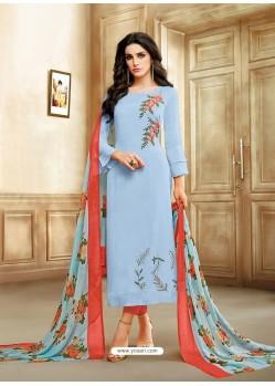 Blue And Dark Peach Embroidered Chanderi Cotton Designer Straight Suit