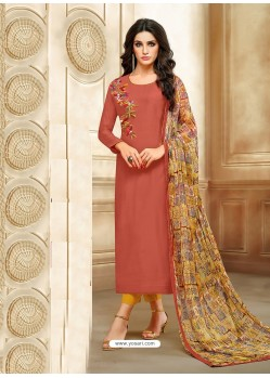 Rust Embroidered Chanderi Cotton Designer Straight Suit