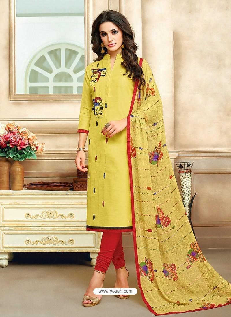 Khaki And Tomato Red Embroidered Chanderi Cotton Designer Churidar Suit