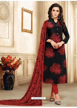 Black And Wine Embroidered Chanderi Cotton Designer Churidar Suit