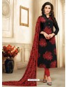 Black And Wine Embroidered Chanderi Cotton Designer Churidar Suit