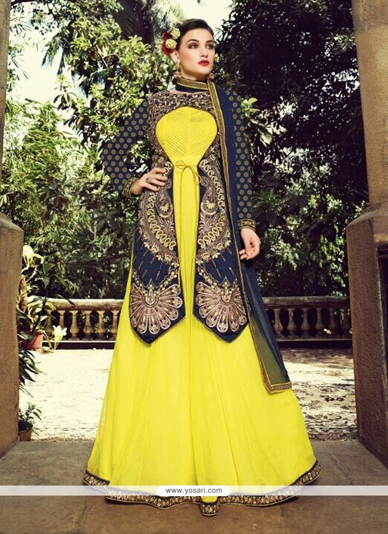Flashy Yellow Net Jacket Style Salwar Suit