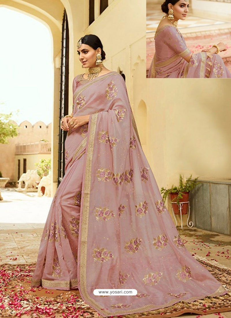 Dusty Pink Embroidered Net Designer Party Wear Saree