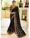 Black Embroidered Net Designer Party Wear Saree