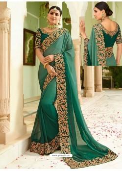 Dark Green Embroidered Net Designer Party Wear Saree