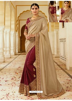 Golden And Maroon Embroidered Net Designer Party Wear Saree