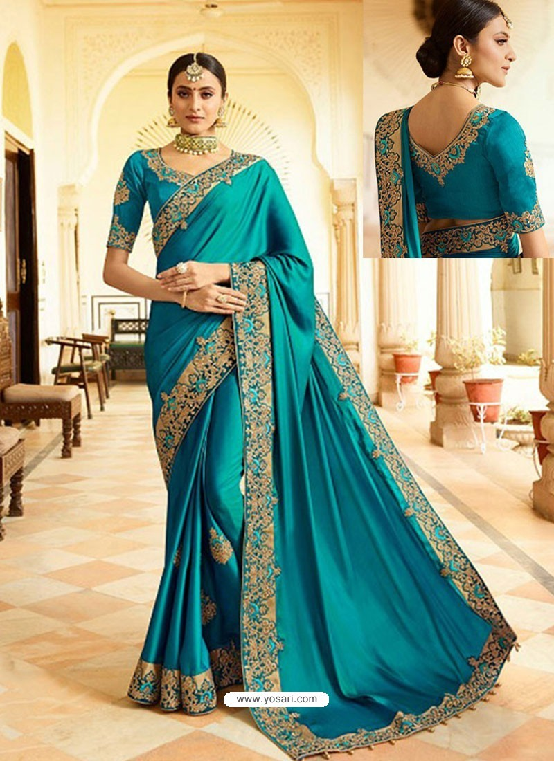Teal Blue Embroidered Net Designer Party Wear Saree