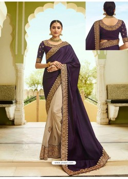 Purple And Cream Embroidered Net Designer Party Wear Saree