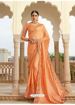 Orange Embroidered Net Designer Party Wear Saree
