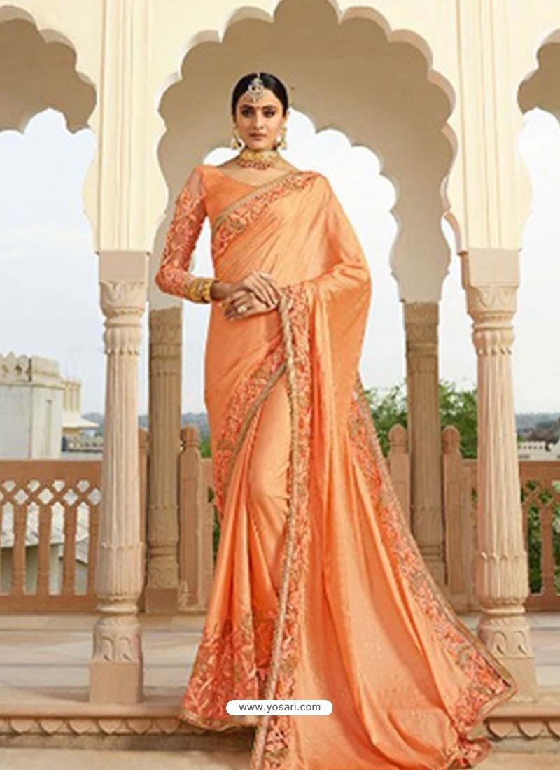 9c7243c1d6 Buy Orange Embroidered Net Designer Party Wear Saree | Party Wear Sarees