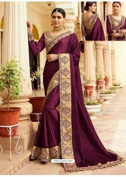 Deep Wine Embroidered Net Designer Party Wear Saree