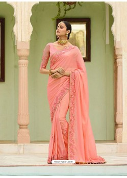 Wonderful Peach Embroidered Net Designer Party Wear Saree