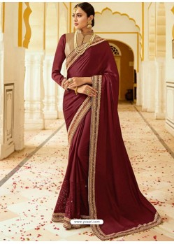 Wine Embroidered Net Designer Party Wear Saree