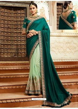 Teal And Sea Green Embroidered Net Designer Party Wear Saree