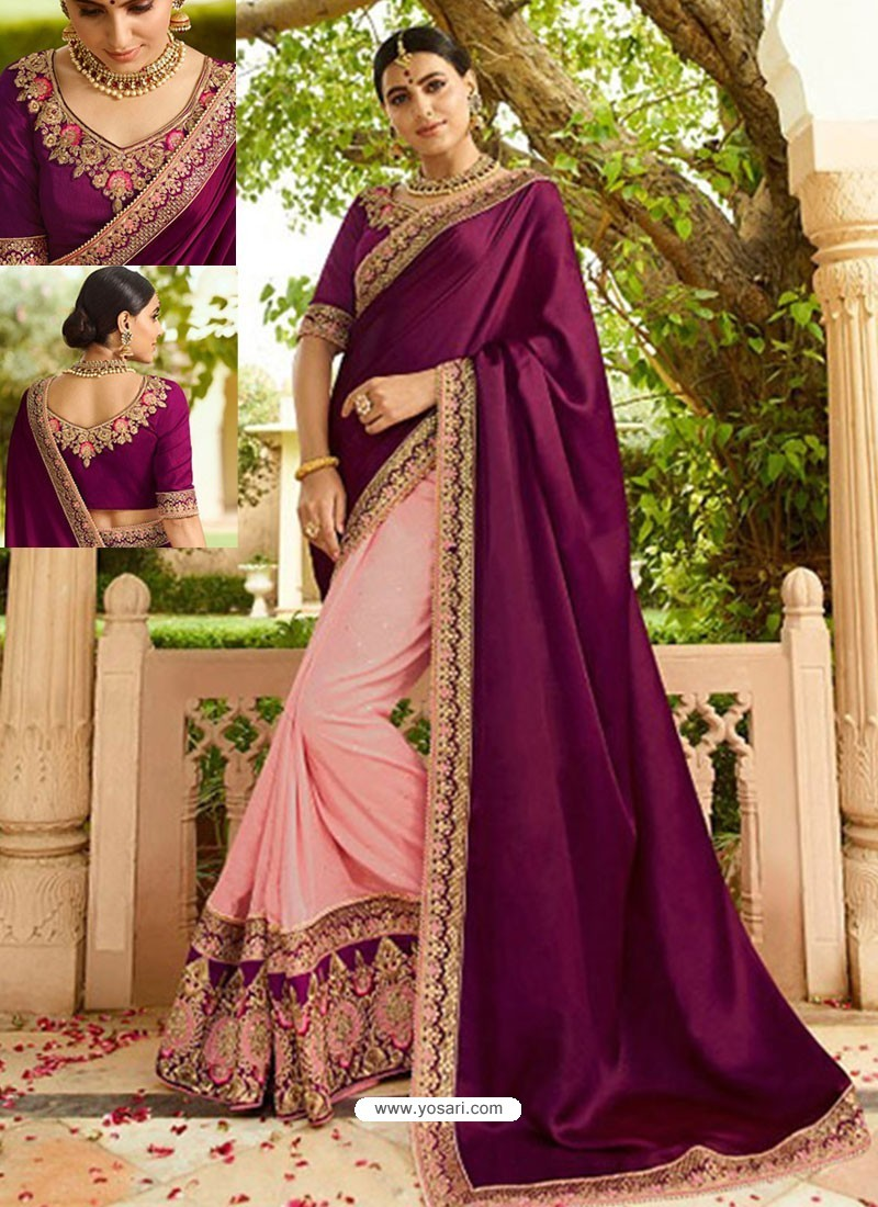 Pretty Purple And Pink Embroidered Net Designer Party Wear Saree