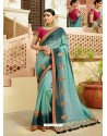 Sky Blue And Teal Blue Embroidered Net Designer Party Wear Saree