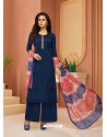 Navy Blue Cotton Satin Embroidered Straight Suit