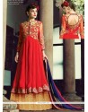 Refreshing Red Georgette And Net Anarkali Suit
