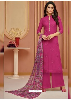 Medium Violet Cotton Satin Embroidered Straight Suit