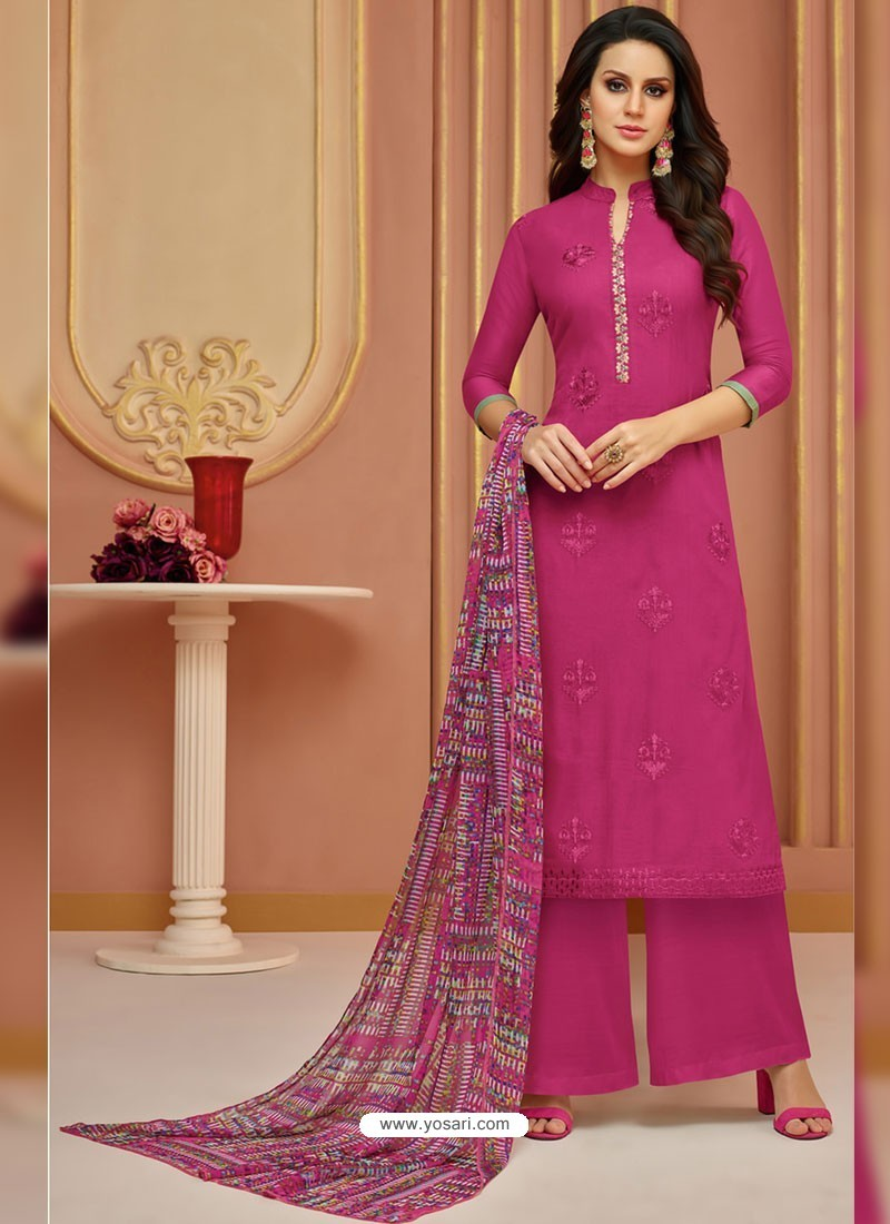 Medium Violet Cotton Satin Embroidered Straight Suit