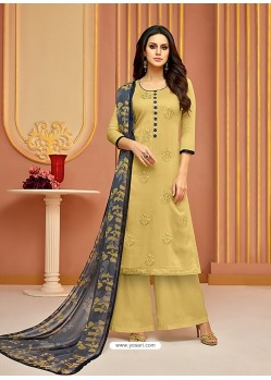 Khaki Cotton Satin Embroidered Straight Suit