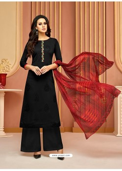 Black Cotton Satin Embroidered Straight Suit