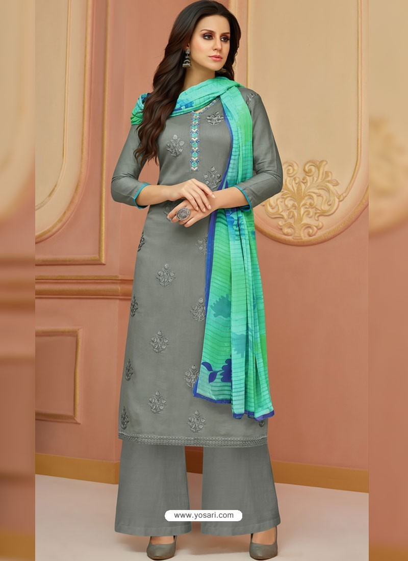 Grey Cotton Satin Embroidered Straight Suit