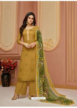 Marigold Cotton Satin Embroidered Straight Suit