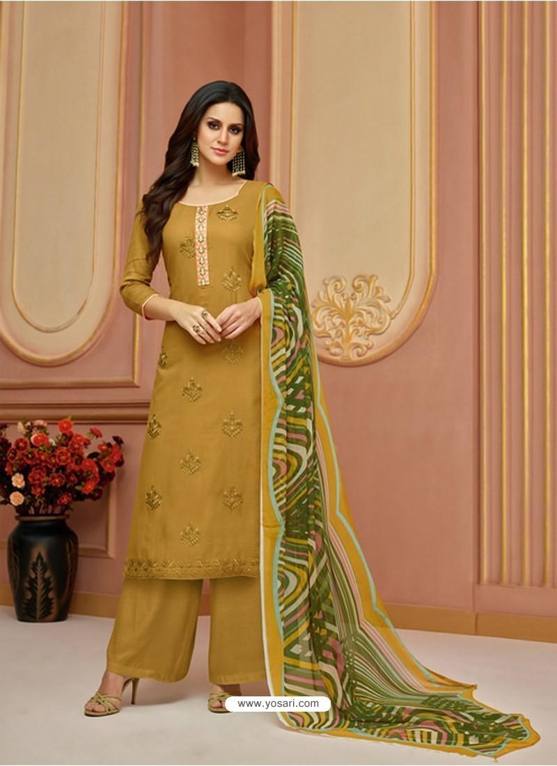 Marigold Cotton Satin Embroidered Straight Suit