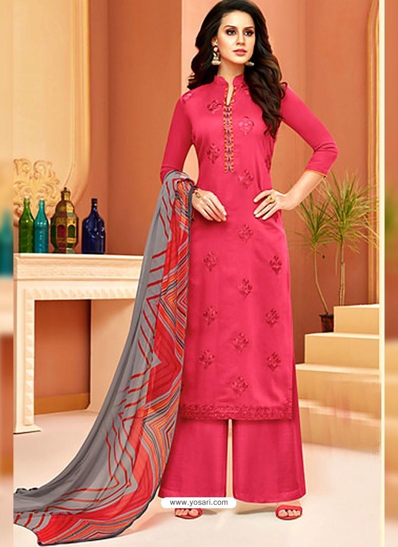 Fuchsia Cotton Satin Embroidered Straight Suit