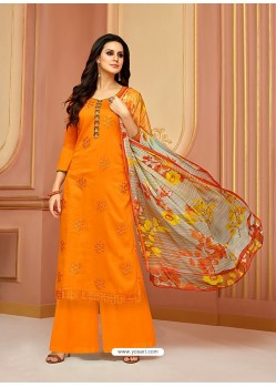 Orange Cotton Satin Embroidered Straight Suit