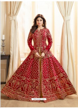 Red Embroidered Mulberry Silk Designer Anarkali Suit