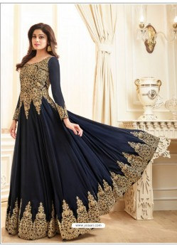 Navy Blue Embroidered Real georgette Designer Anarkali Suit