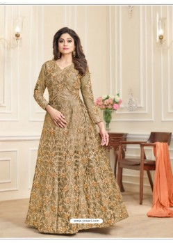 Olive Green Embroidered Mulberry Silk Designer Anarkali Suit