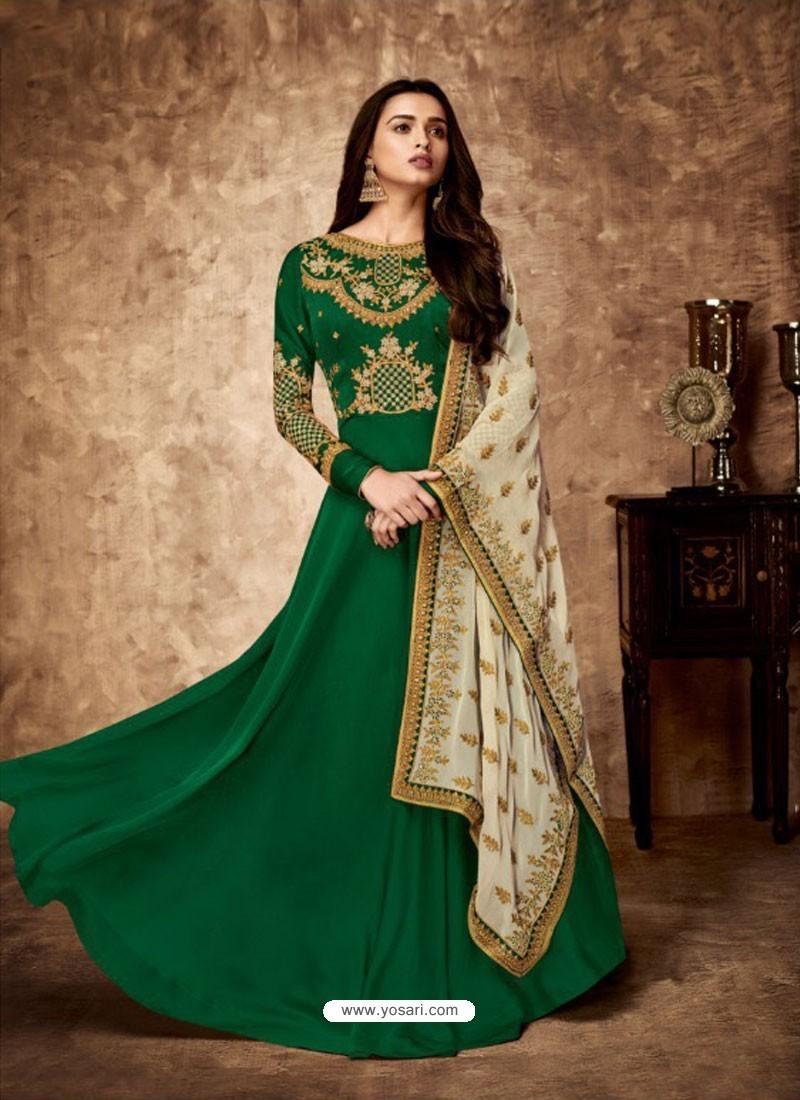 Dark Green Royal Georgette Satin Embroidered Designer Anarkali Suit