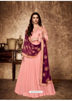 Pink Royal Georgette Satin Embroidered Designer Anarkali Suit