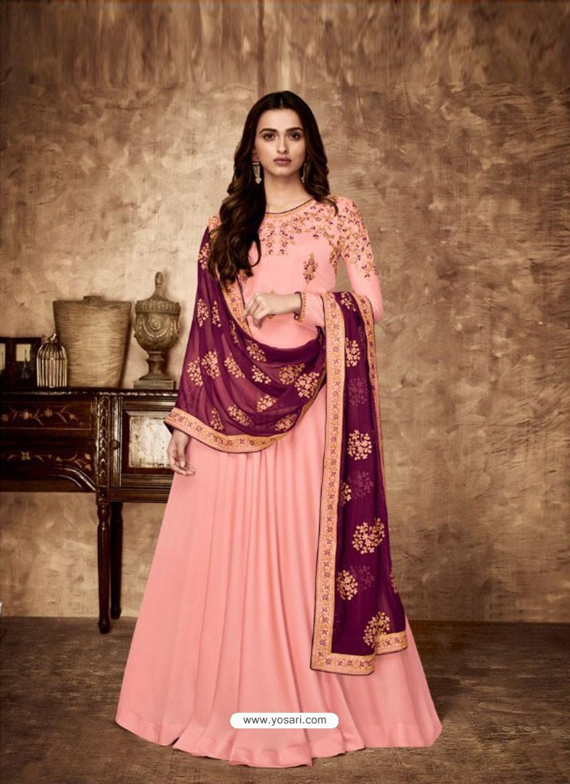 Pink Royal Georgette Satin Embroidered Designer Anarkali Suit