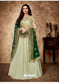 Sea Green Royal Georgette Satin Embroidered Designer Anarkali Suit