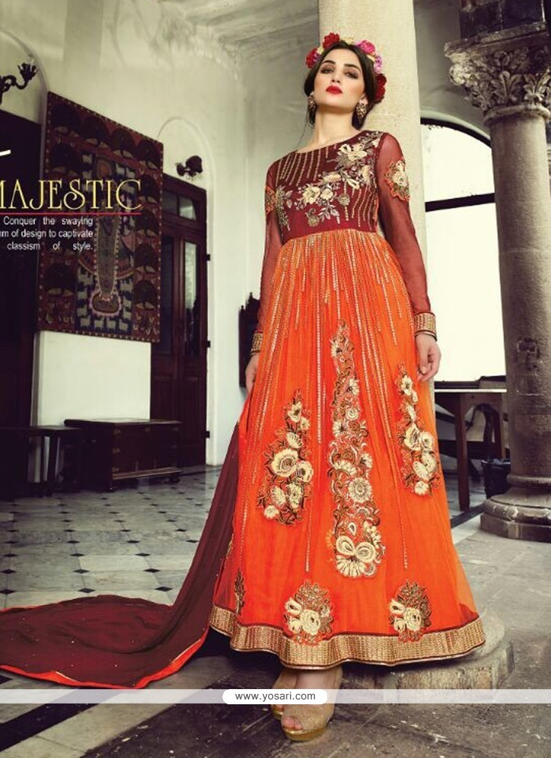 Glorious Orange Net And Velvet Anarkali Suit